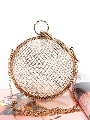 Metal Hollow Out Reticulated Sphere Handbag