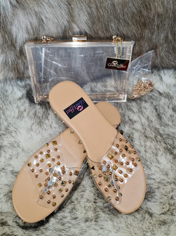 Fashion summer gold clear flat set