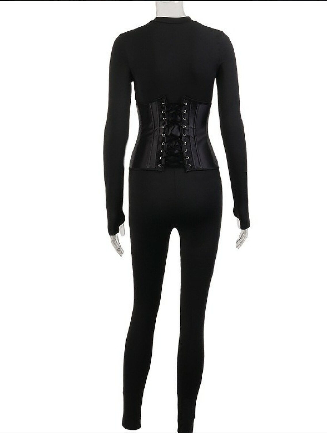 Solid Casual Long Sleeve Jumpsuit With Corset
