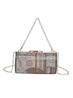 Dollar Print Rhinestone clutch Chain Bag
