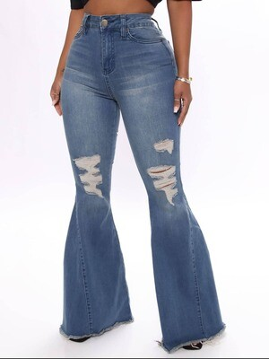 Blue ripped flare jeans