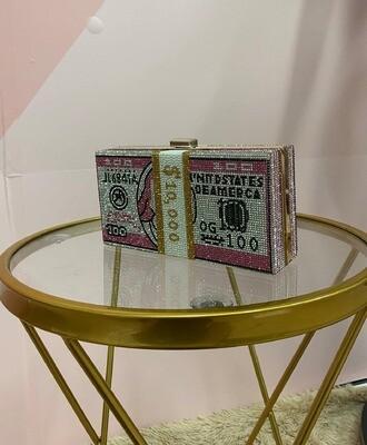 Dollar Print Rhinestone Chain Bag