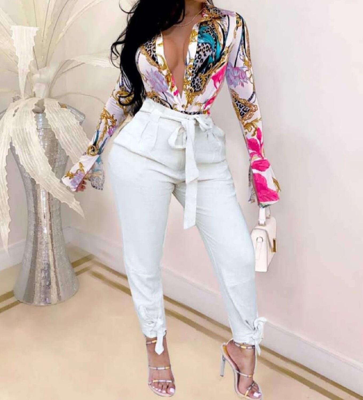 Fashion Print Button Casual Long Sleeve Blouse