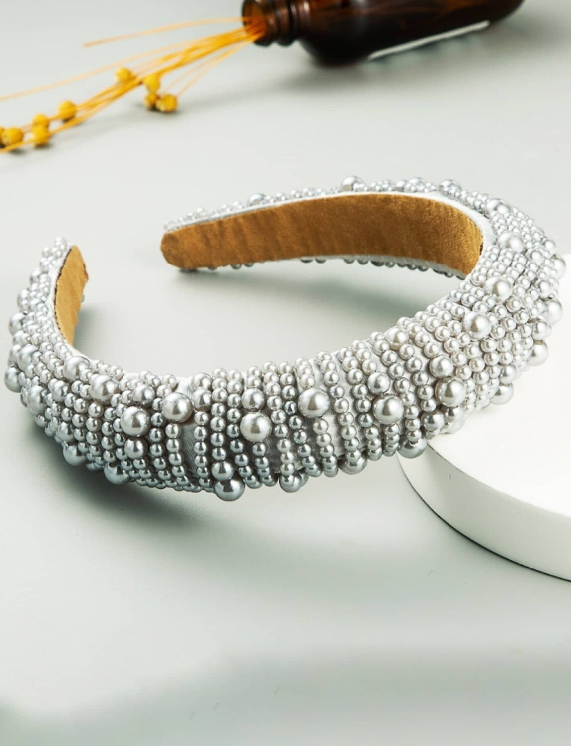 Full Faux Pearls Patchwork Hair Band For Women