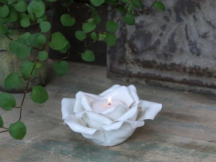 Porcelæns rose til fyrfadslys. 100% porcelæn