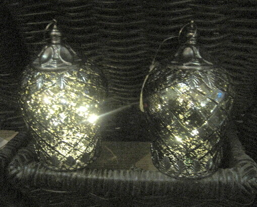 Led lanterne grøn m/sølv metal