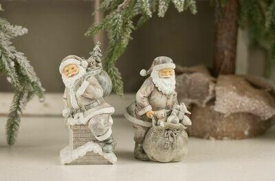 Julemand på skorsten grå/hvid