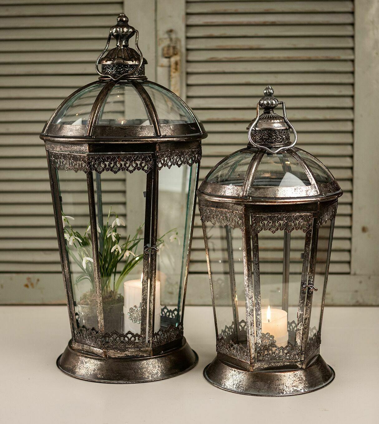 8 kantet lanterne, antik sølv