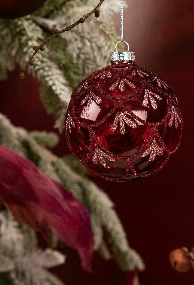 Juletræspynt - bordeaux transparent Ø8 cm