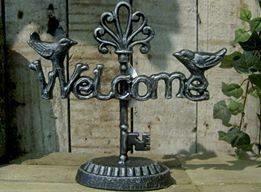 Welcome skilt på fod