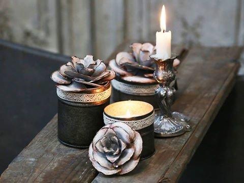 Fyrfad m/ rose dekor og duft lys