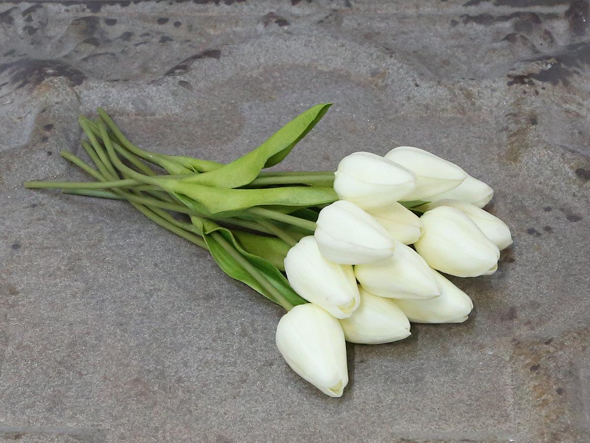 Dekorationsblomster - Tulipaner i bundt af 12 stk hvid. H27Ø13 cm