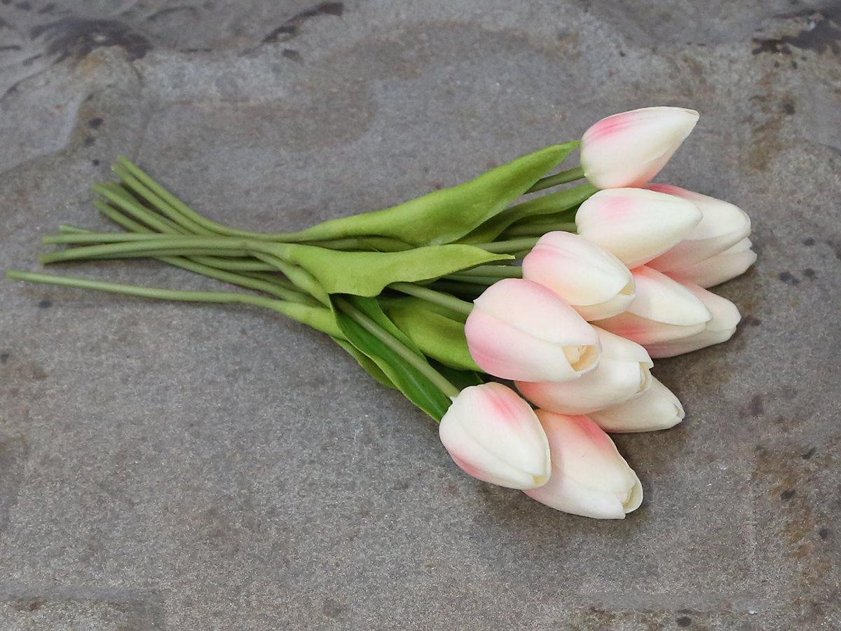 Dekorationsblomster - Tulipaner i bundt af 12 stk rosa. H27Ø13 cm