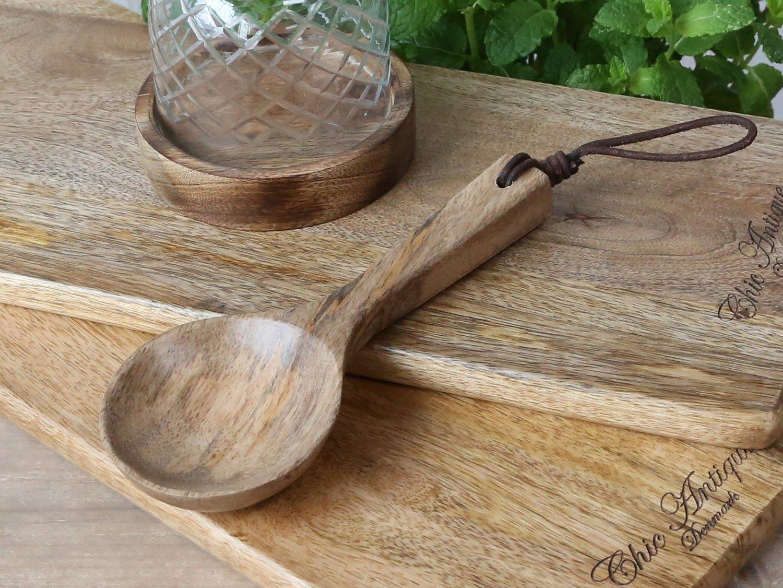 Køkken Træske m. læder strop i mangotræ   H19 cm