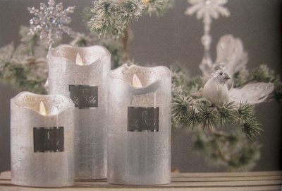 Led lys m. timer Sølv metallic H11 cm