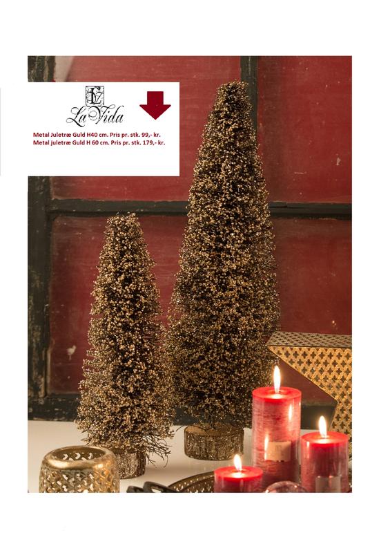 Metal juletræ i Guld H60 cm
