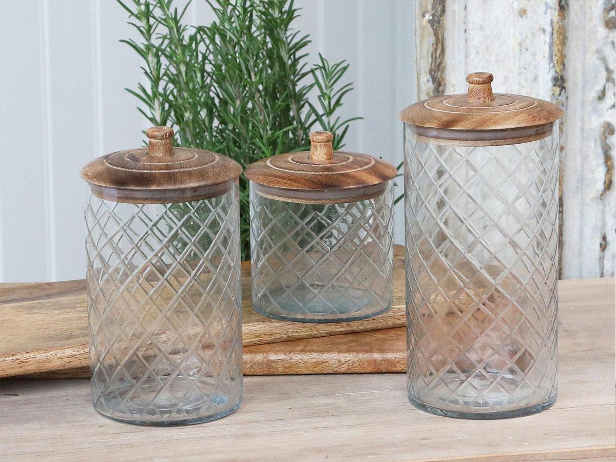 Køkken Glas krukke m. låg i mangotræ H13 cm.