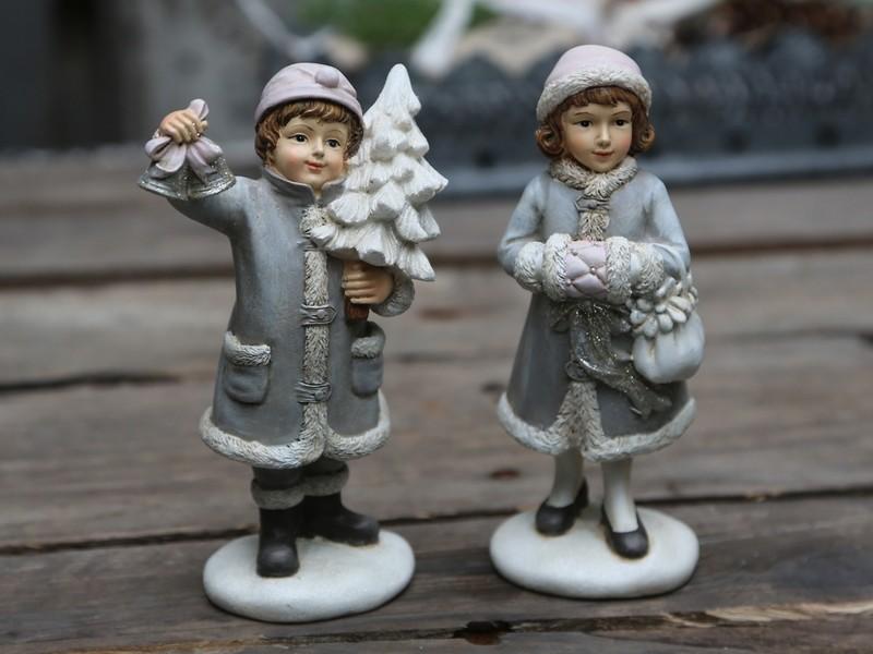 Vintage dreng & pige på juletur. Sæt af to / Chic Antique