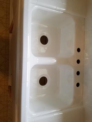 Kitchen Sink In Liquid Porcelain Fresh Baked Porcelain Look and Feel