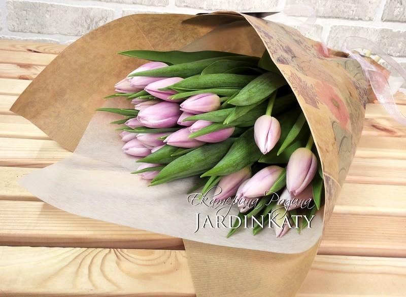 25 Тюльпанов, упаковка крафт