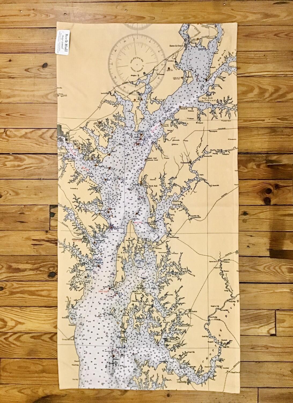 Chesapeake Bay Chart Map Towel