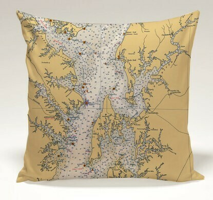 Chesapeake Bay Chart Map Indoor/Outdoor Pillow