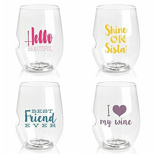 Govino Girlfriend Love Stemless Wine Glasses