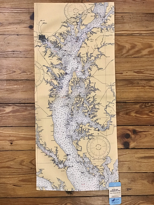 Chesapeake Bay Chart Map Table Runner