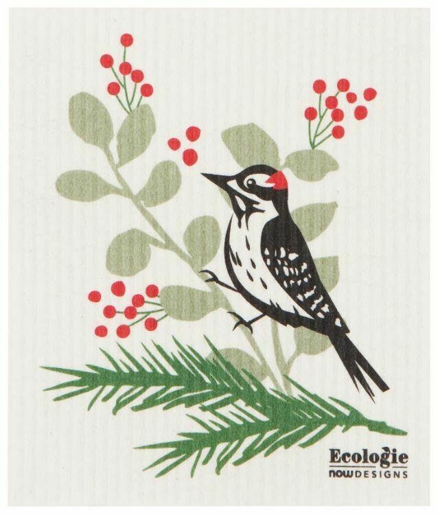 Forest Woodpecker Swedish Dish Cloth