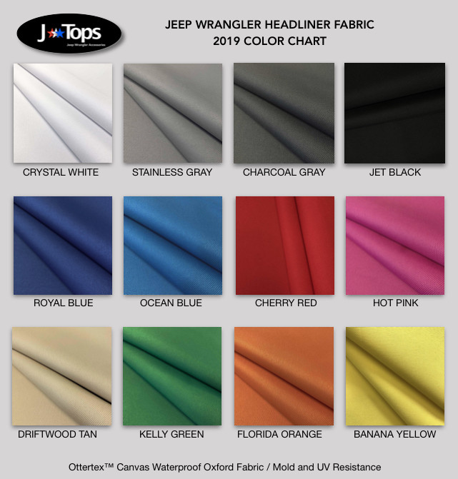 Free Jeep Wrangler Headliner Fabric Samples: Solid Colors