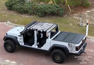 Jeep Gladiator FULL Sun Shade - USA & Texas Flags