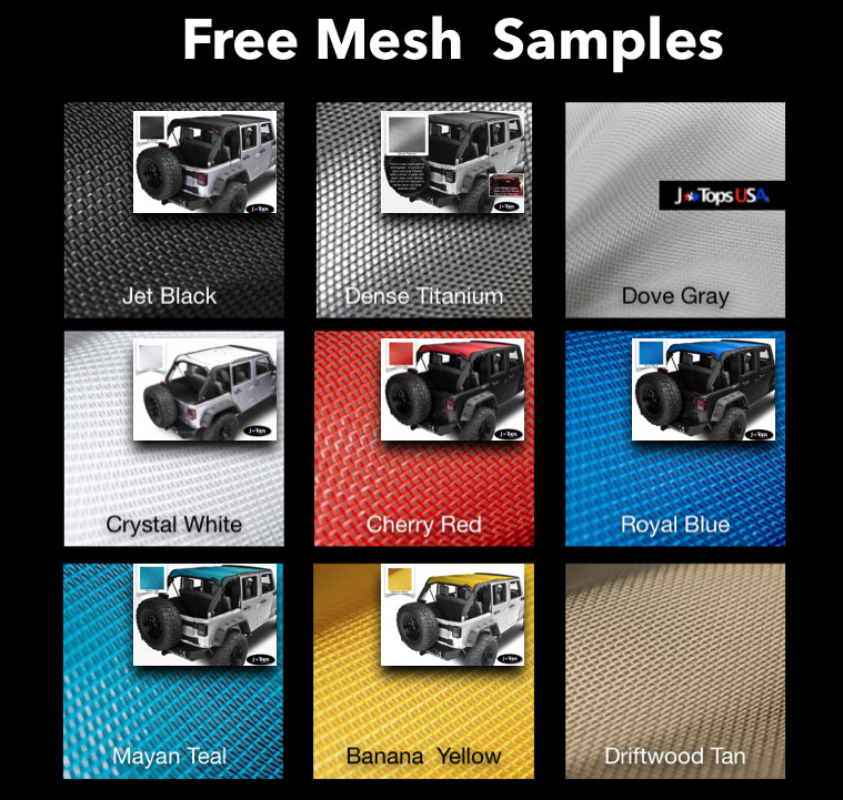 Free Jeep Wrangler Sunshade Sample Colors:  Solid Color Mesh