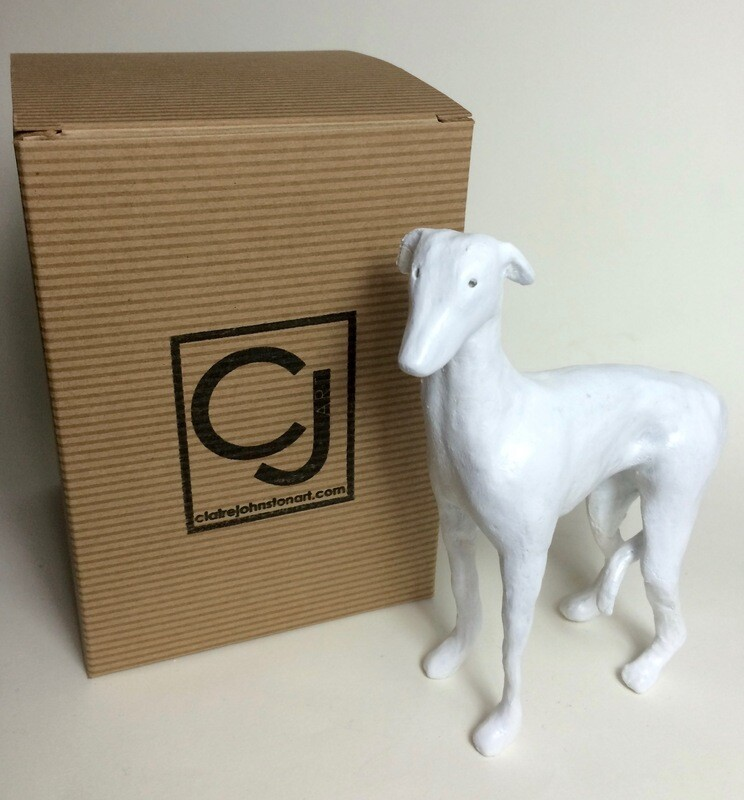 White Greyhound (Size: approx H: 12cm) + Gift Box