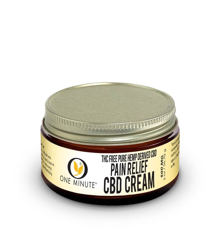 2oz One Minute CBD Cream THC FREE 500mg