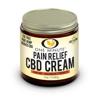 4oz One Minute CBD Cream THC FREE 1000mg