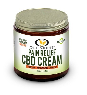 4oz One Minute CBD Cream w/THC 1000mg