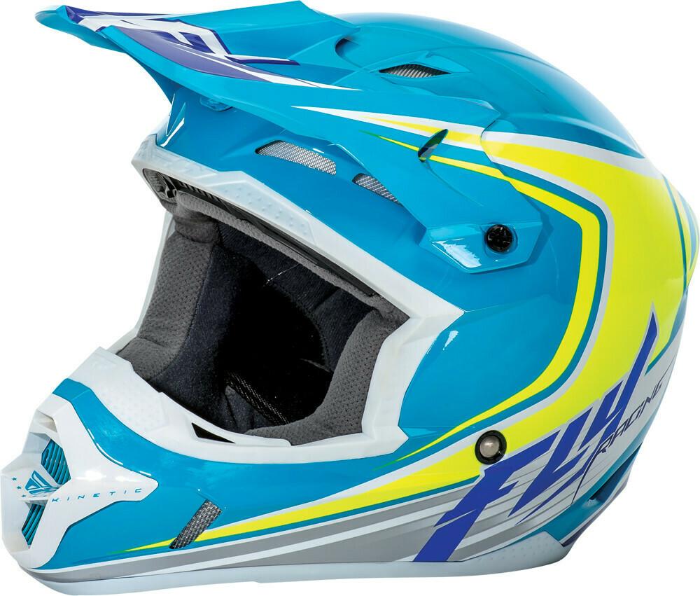 FLY RACING KINETIC FULLSPEED HELMET BLUE/HI-VIS/WHITE
