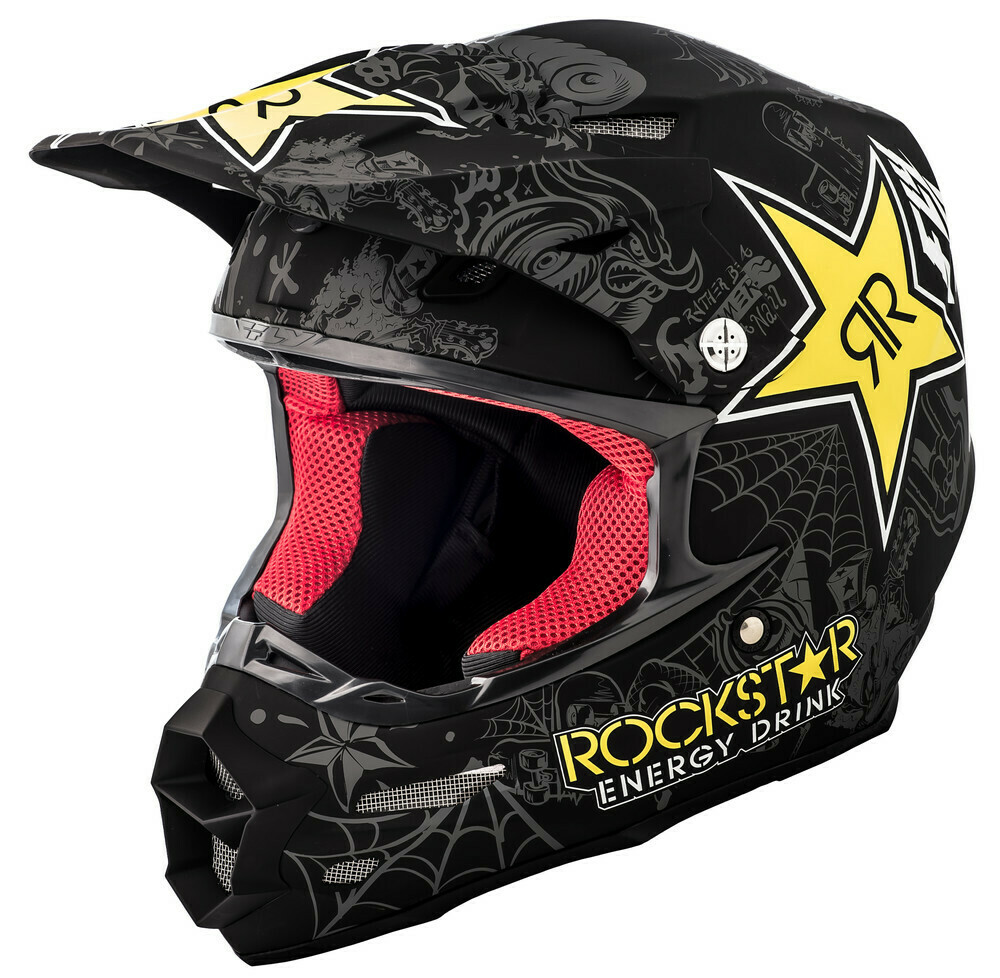 F2 Carbon Rockstar Helmet Matte Black/Charcoal/Yellow