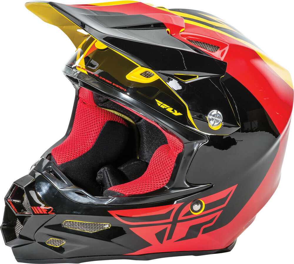 FLY RACING F2 CARBON PURE HELMET YELLOW/BLACK/RED
