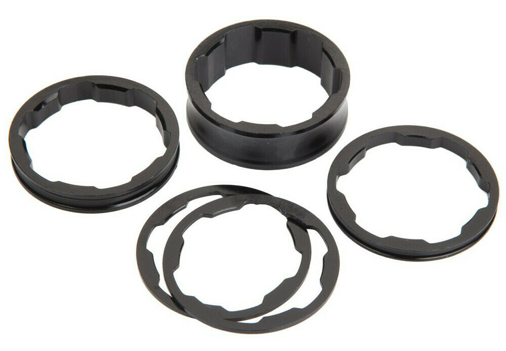 "BOX ALLOY SPACERS BLACK 1 1/8"" FORK 5/PK"