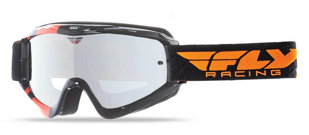 FLY RACING ZONE GOGGLE BLACK/ORANGE W/ CLEAR/FLASH CHROME LENS