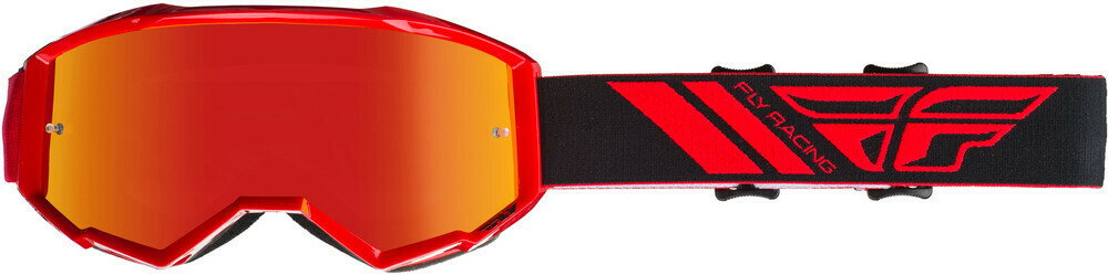 FLY RACING ZONE GOGGLE RED W/RED MIRROR LENS W/POST