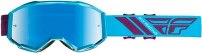 FLY RACING ZONE GOGGLE BLUE/PORT W/BLUE MIRROR LENS W/POST