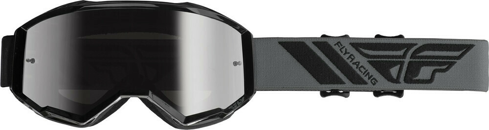 FLY RACING ZONE GOGGLE BLACK W/SILVER MIR/SMK LENS W/POST