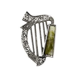 Connemara Marble Harp Brooch