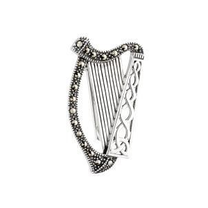Sterling Silver and Marcasite Harp Brooch