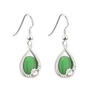 Green Cat Eye Claddagh Earrings