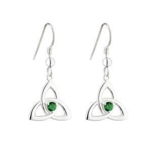 Sterling Silver Green Crystal Trinity Drop Earrings