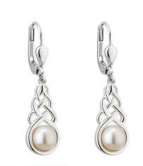 Sterling Silver Freshwater Pearl Celtic Drop Earrings