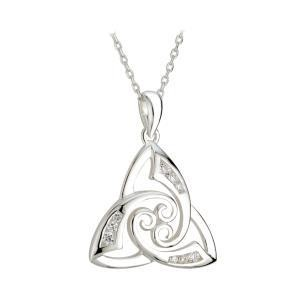 Sterling Silver CZ Twist Trinity Knot Pendant
